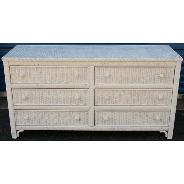 Henry Link White Wicker 6-Drawer Double Dresser - Image 3 of 11