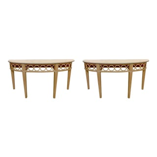 Pair of McGuire Console Tables W/Travertine Tops For Sale