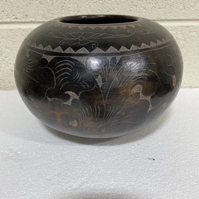 Maitland-Smith Tribal Etched Stone Vase For Sale - Image 9 of 9