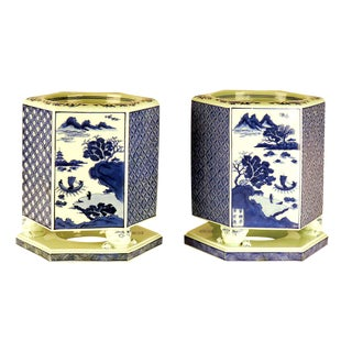 Early 20th Century Japanese Gold and Blue Porcelain Hibachi - a Pair For Sale