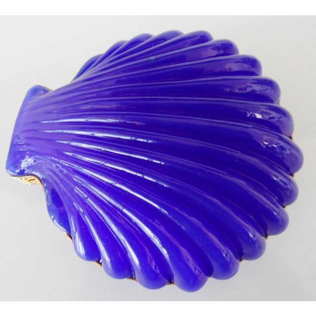 Mid century French opaline glass box in the form of a clamshell. Large size. Amazing brilliant blue color. Excellent...