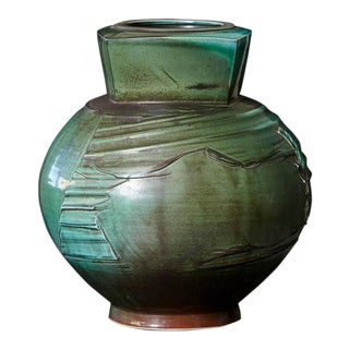 Chris Staley, Large Jar with Textured Surface in Mottled Green, Signed For Sale