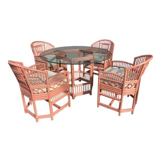 Vintage Chippendale Brighton Rattan Pavillion Table and Chairs - 5 Pieces For Sale