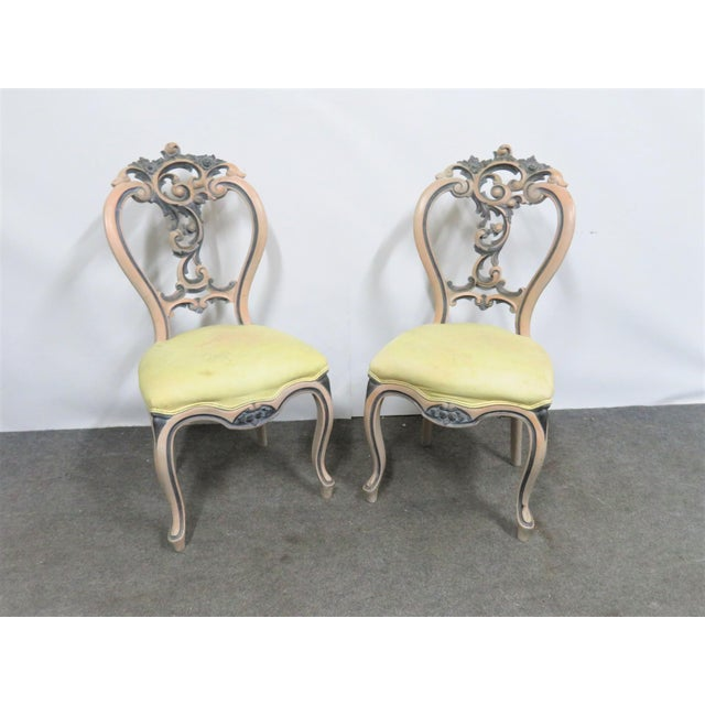 Late 19th Century Victorian Rose Carved Painted Side Chair For Sale - Image 10 of 10