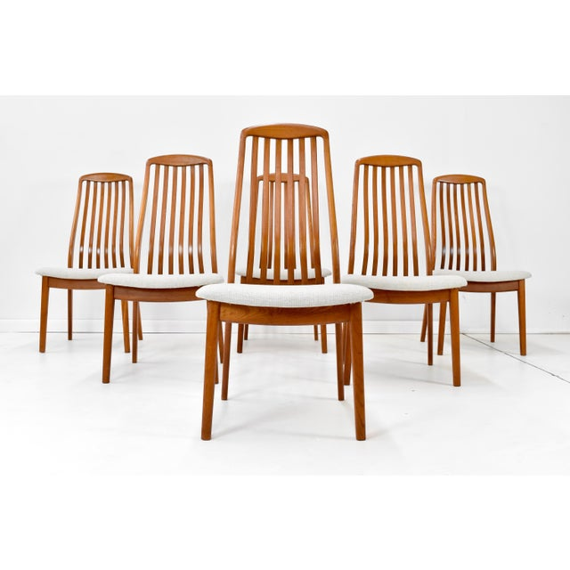 Stunning set of six mid century Danish modern Teak Dining Chairs by Schou Andersen of Denmark, C1960s. Luxurious solid...