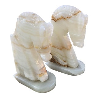Art Deco Carved Alabaster Horse Bookends - A Pair