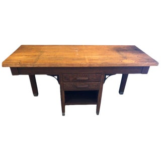 Workbench Island Antique Oak, Butcher Block Top, School, Swing Out Stool Area For Sale