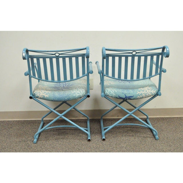 Pair of Vintage Hollywood Regency X Form Blue Iron Curule Directors Arm Chairs B - Image 11 of 11