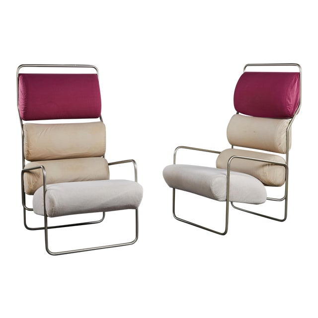 "Pair of Achille Castiglioni ""Sancarlo"" Tubular Metal Chairs for Driade For Sale"