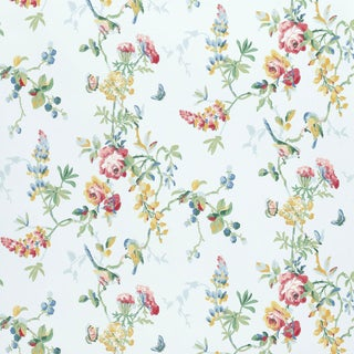 Sample - Schumacher Chickadee Floral Wallpaper in Sky For Sale