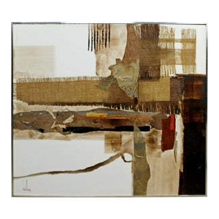 Mid Century Modern Framed Acrylic Canvas Painting Signed Greg Hawthorne 1970s For Sale