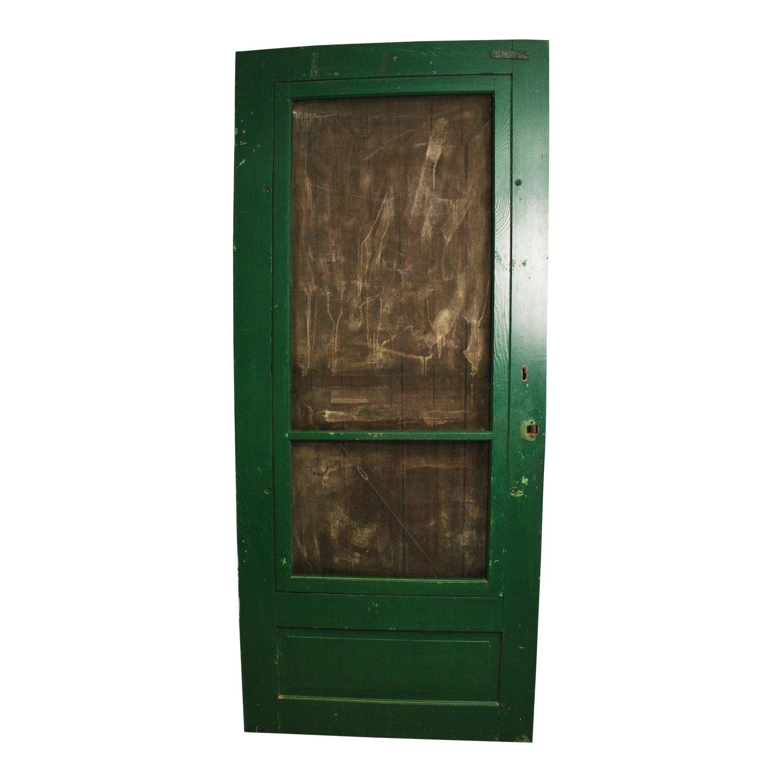 Vintage Green Wood Country Screen Door Chairish
