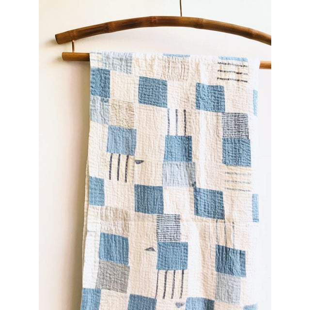 Boro Patchwork Quilt Throw Blanket For Sale - Image 4 of 7