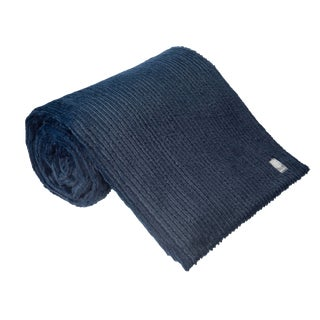Navy Cable-Knit Throw For Sale