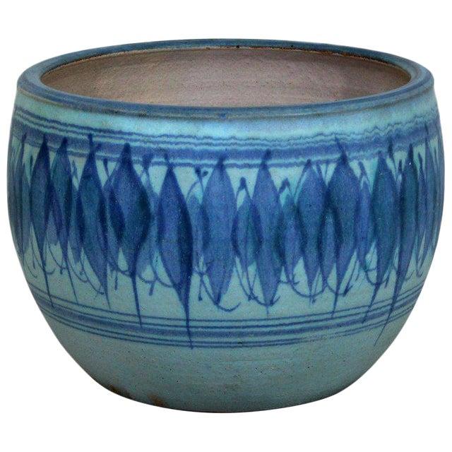 1960s Mid-Century Modern Large Blue Glazed Ceramic Pot Signed j.t. Abernathy For Sale