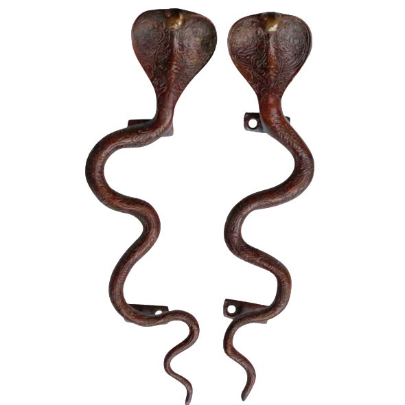 Large Red Brass Cobra Door Handles - A Pair For Sale