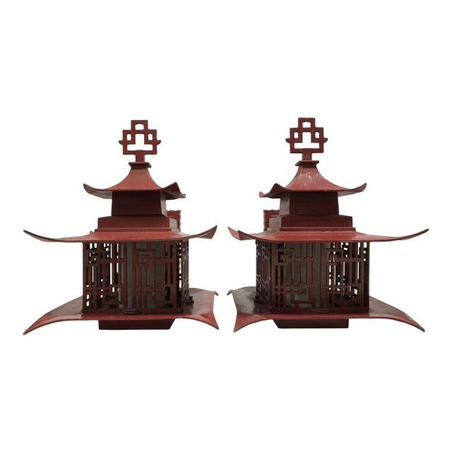 Metal Outdoor Pagoda Lattice Sconces - A Pair For Sale