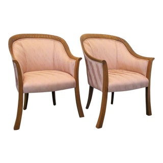 Lambert Furniture Art Deco Revival Pink Shell Motif Accent Chairs- A Pair For Sale
