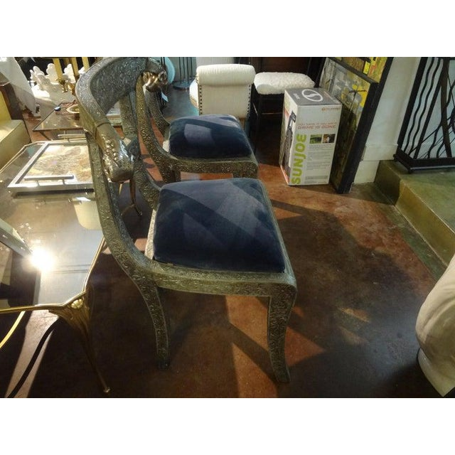 Vintage Anglo-Indian Silver Clad Dowry Wedding Chairs With Rams Heads-A Pair For Sale In Houston - Image 6 of 11