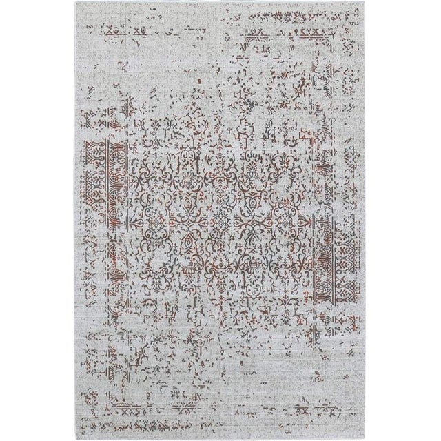 "Distressed Turkish Gray Orange Rug - 5'3"" x 7'7"" - Image 1 of 6"