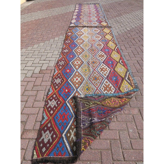 "Blue Oversized Kilim Runner Rug - 4' X 22'11"" For Sale - Image 8 of 9"