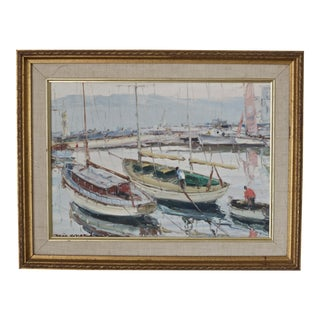 Vintage Oil on Board of Sailboats For Sale