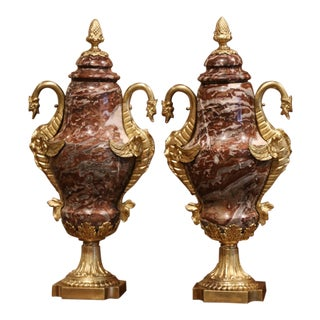 19th Century French Carved Red Marble and Gilt Bronze Cassolettes Urns - a Pair For Sale