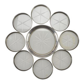 1940s Sterling Silver and Glass Coasters - Set of 9 For Sale