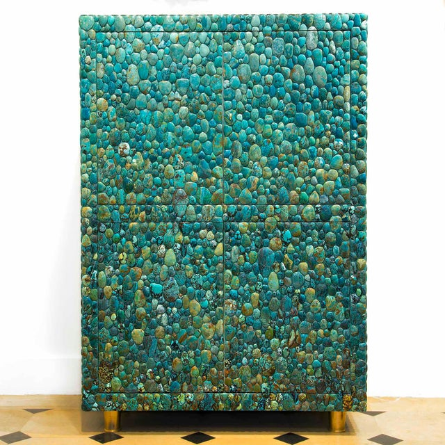 Gold Kam Tin - Turquoise Cabinet With Four Opening Doors, Made of Turquoise Cabochons For Sale - Image 8 of 8