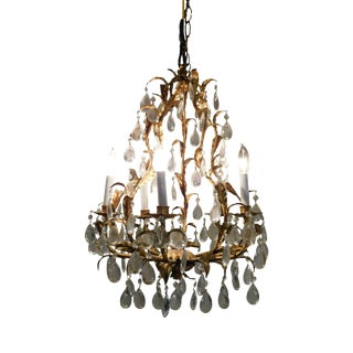 Vintage Italian Gilt Tole Chandelier With Prisms For Sale