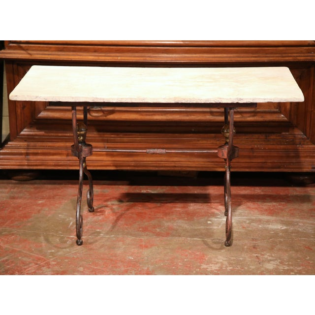 French 19th Century French Iron Bistrot Table With Stone Top and Bronze Mounts For Sale - Image 3 of 8