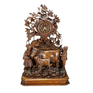 Antique Mantel Clock With Herdsman Family, Goats and Cows For Sale