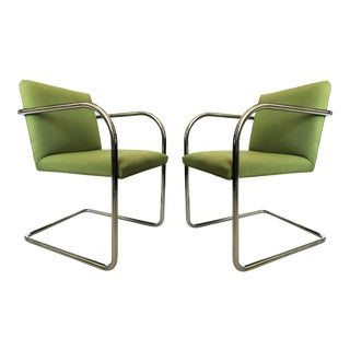 Pair of Brno Chairs in Green For Sale