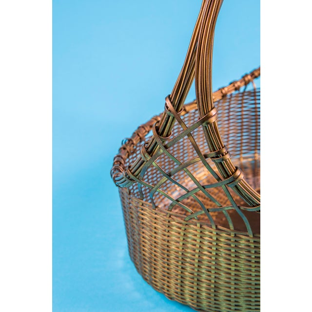 1960's Mid-Century Hand Woven Solid Brass Basket For Sale In Raleigh - Image 6 of 9