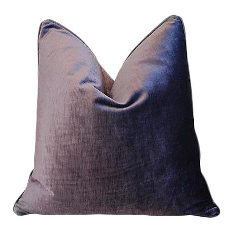 "24"" Custom Tailored Deep Eggplant Purple Velvet Feather/Down Pillow For Sale"
