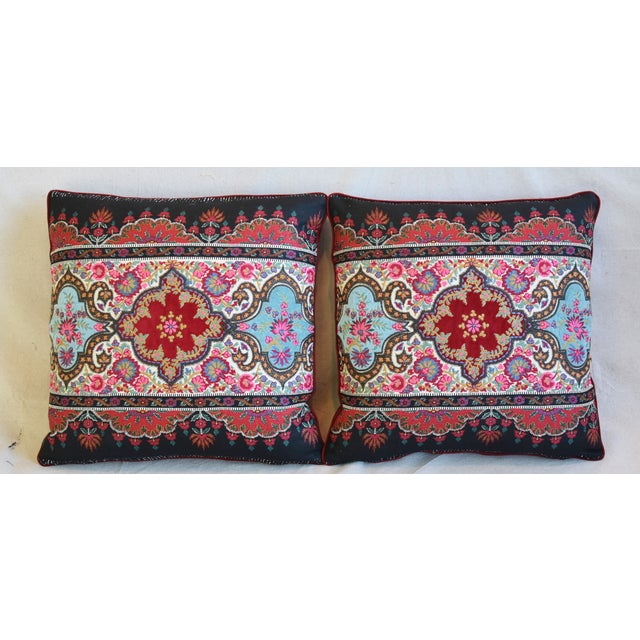 Pair of custom-tailored pillows in French Pierre Frey embroidered linen/cotton fabric with applique velvet accents called...