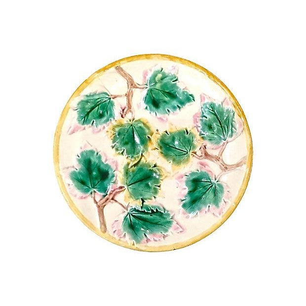 Majolica Antique Majolica Leaf Compote Dish For Sale - Image 4 of 7