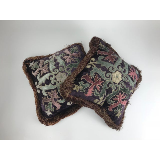 Modern Embroidered Velvet Pillows - A Pair For Sale In Los Angeles - Image 6 of 6
