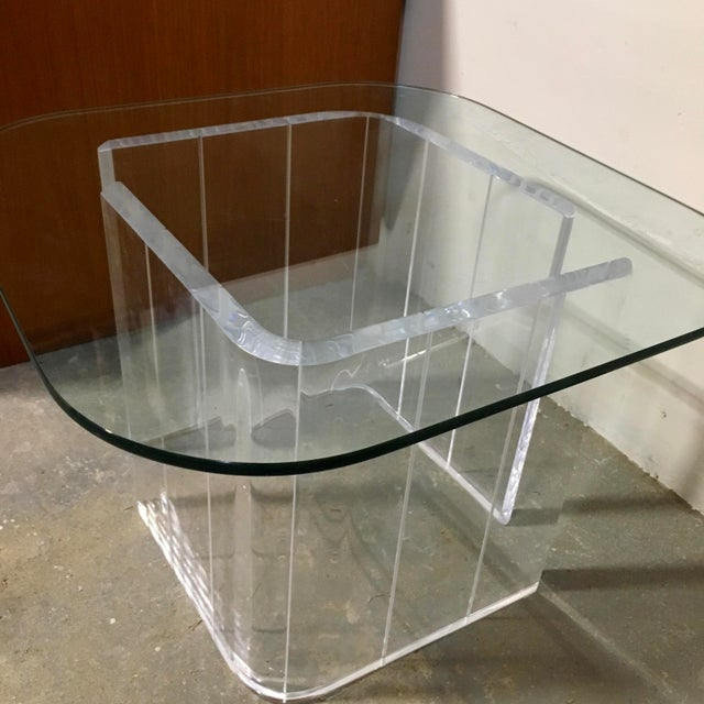 Lucite & Glass Side Table - Image 3 of 4