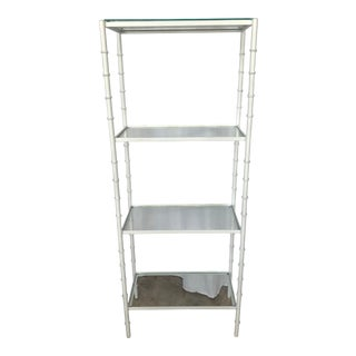 1960s Hollywood Regency White Faux Bamboo Metal Etagere Shelf For Sale