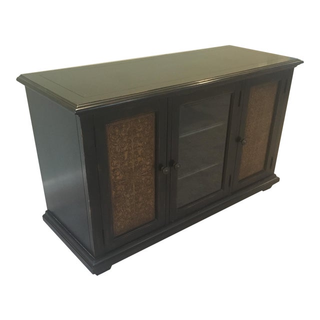 Americana Wood and Brass Credenza/Media Cabinent For Sale