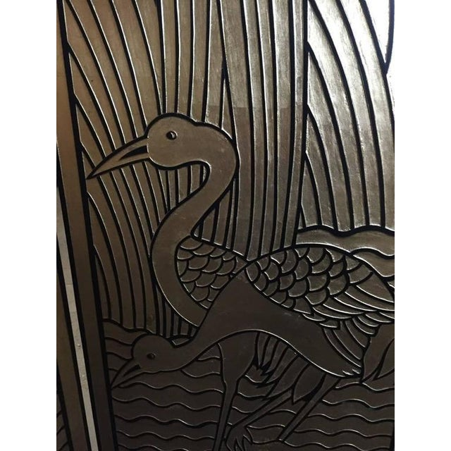 Four-Panel Art Deco Style Gold and Black Floor Screen For Sale - Image 4 of 9