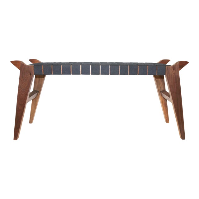 'Arvid the Long' Modern Wood & Webbing Bench For Sale