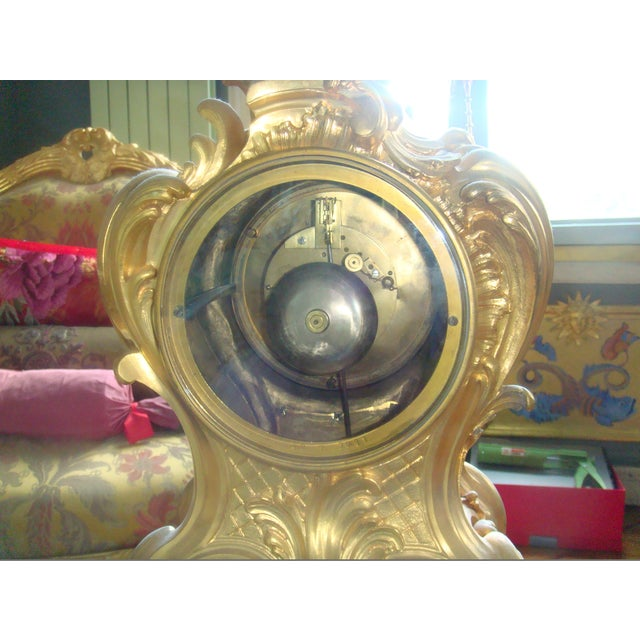 Mid 19th Century Antique f.f. F. Barbedienne Louis XV Mantle Clock For Sale - Image 11 of 13