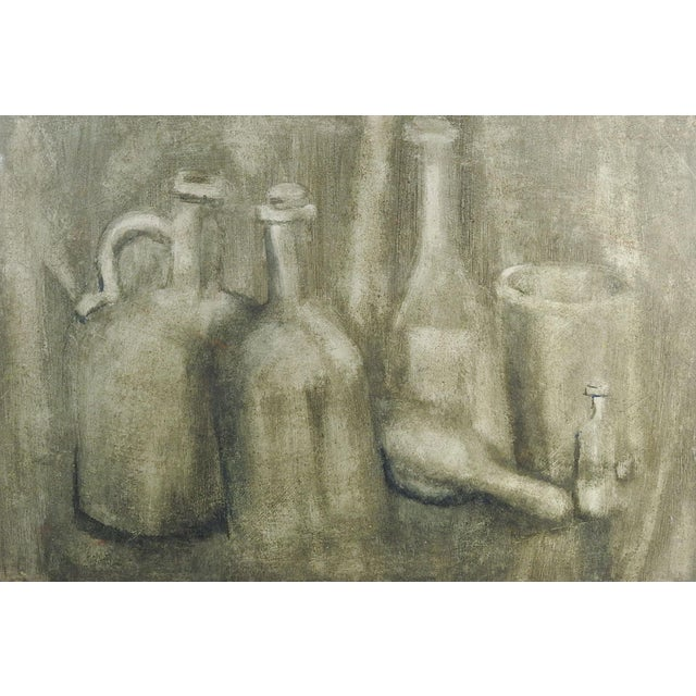 Monochromatic Still Life With Bottles Painting For Sale