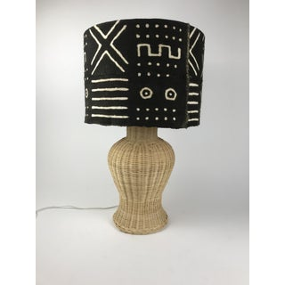 Wicker Ginger Jar Table Lamp With Mud Cloth Drum Shade Preview
