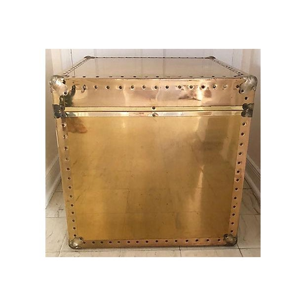 Brass and Wood Trunk / Side Table - Image 3 of 7