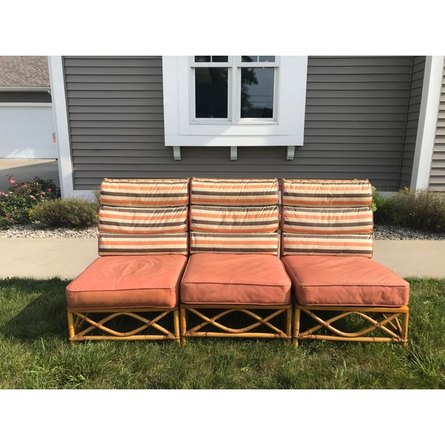 Vintage Mid Century Ficks Reed Patio Outdoor Bentwood Bamboo Sofa, 3 Pieces For Sale - Image 11 of 11