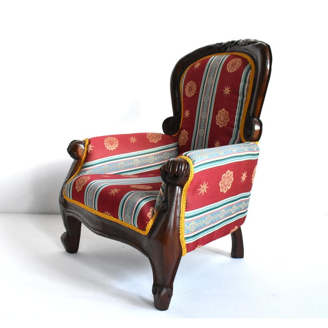 Wood Antique Victorian-Style Upholstered Child's Chair For Sale - Image 7 of 11