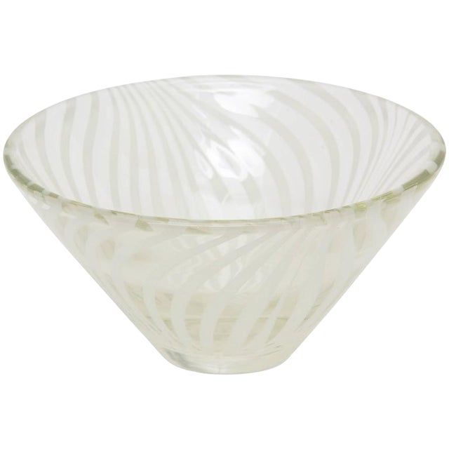 Sculptural Optical Swirled Glass Bowl For Sale